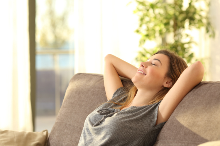 woman relaxing after using delta 8 thc