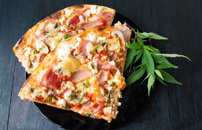 Cannabis dinner party pizza